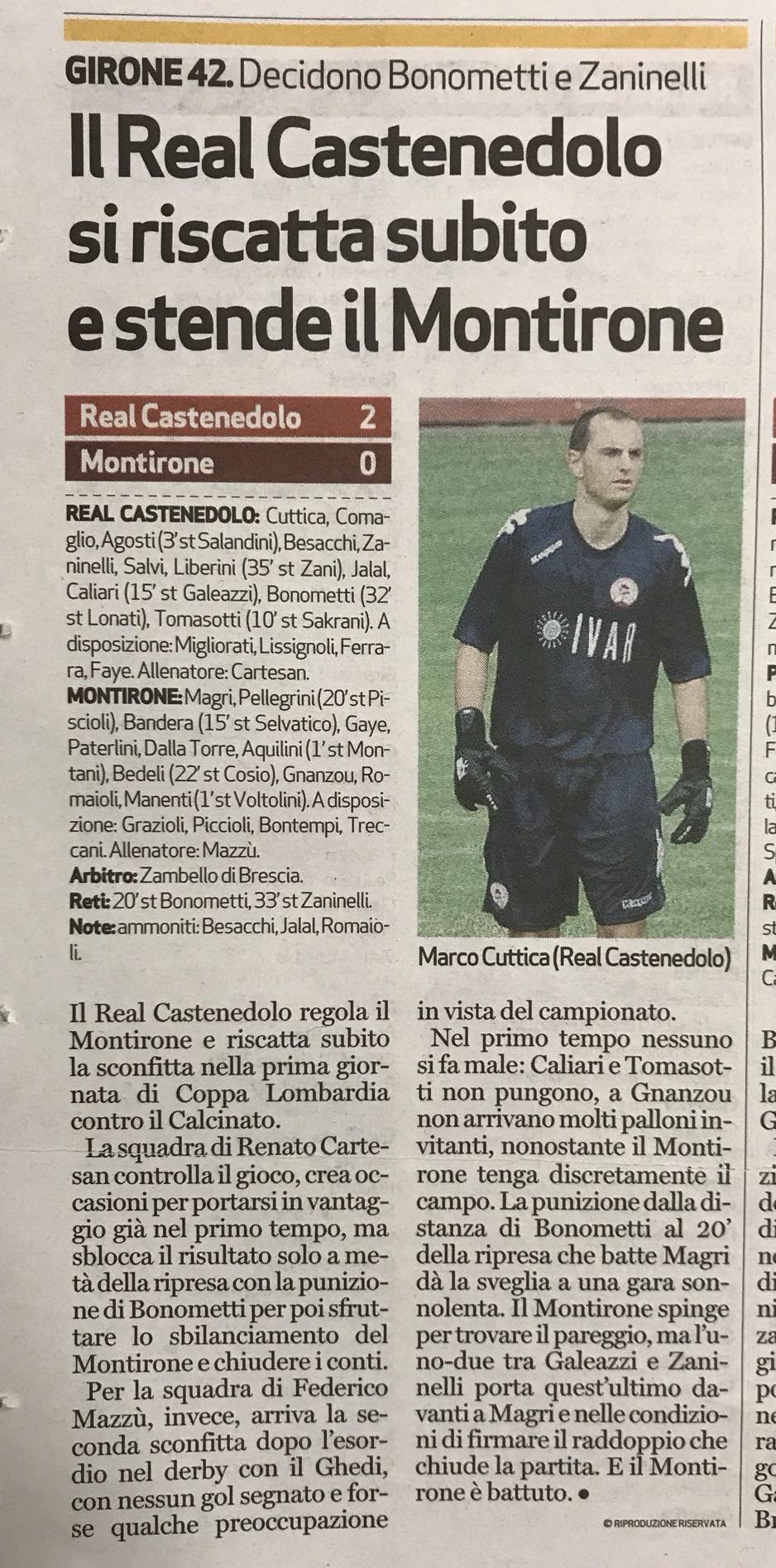 BresciaOggi 21 Settembre - Coppa Lombardia