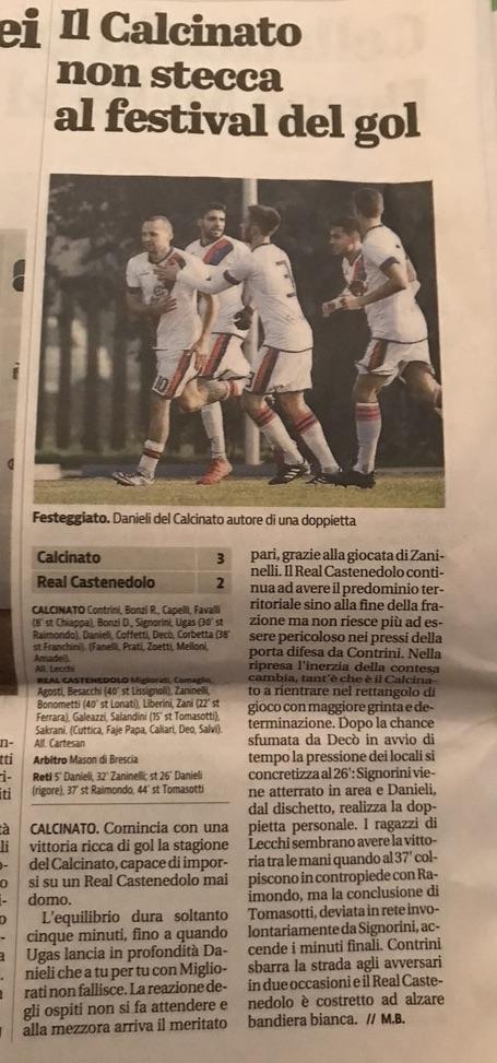 Giornale di Brescia 14 Settembre Coppa Lombardia