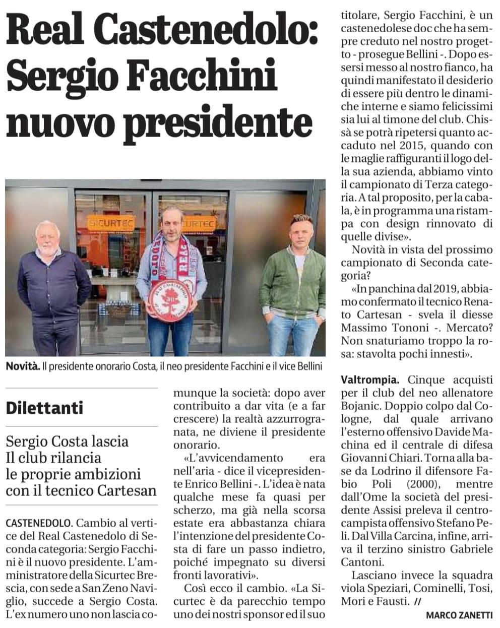 Giornale di Brescia 24 Maggio